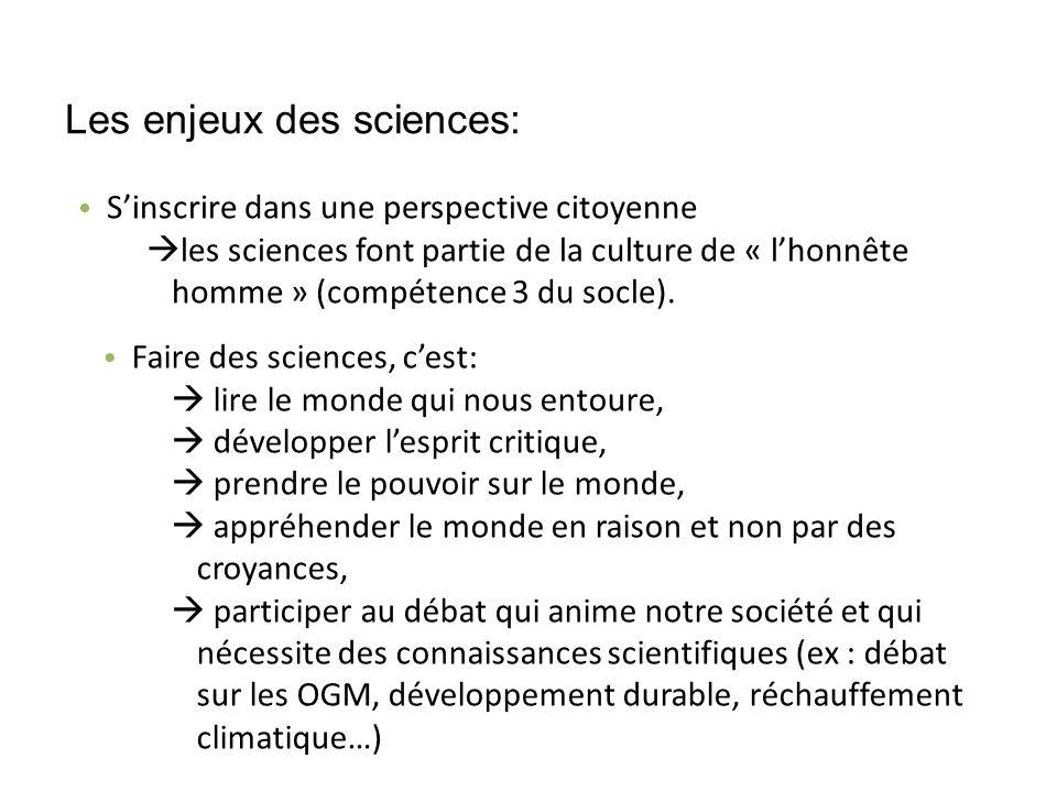 Les enjeux des sciences: Sinscrire dans une perspective citoyenne les sciences font partie de la culture de « lhonnête homme » (compétence 3 du socle).