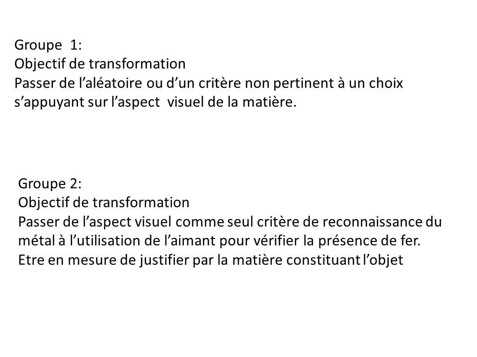 Groupe 1: Objectif de transformation Passer de laléatoire ou dun critère non pertinent à un choix sappuyant sur laspect visuel de la matière.