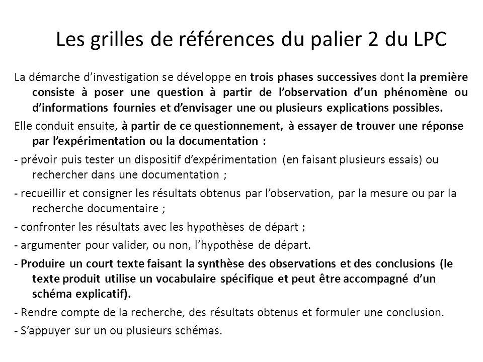 Les grilles de références du palier 2 du LPC La démarche dinvestigation se développe en trois phases successives dont la première consiste à poser une question à partir de lobservation dun phénomène ou dinformations fournies et denvisager une ou plusieurs explications possibles.