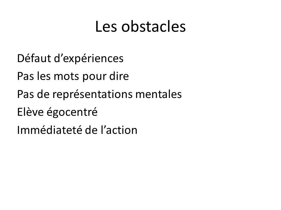 Les obstacles Défaut dexpériences Pas les mots pour dire Pas de représentations mentales Elève égocentré Immédiateté de laction