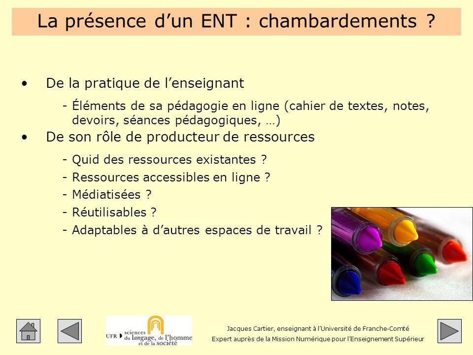 Jacques Cartier, enseignant à lUniversité de Franche-Comté Expert auprès de la Mission Numérique pour lEnseignement Supérieur La présence dun ENT : ch