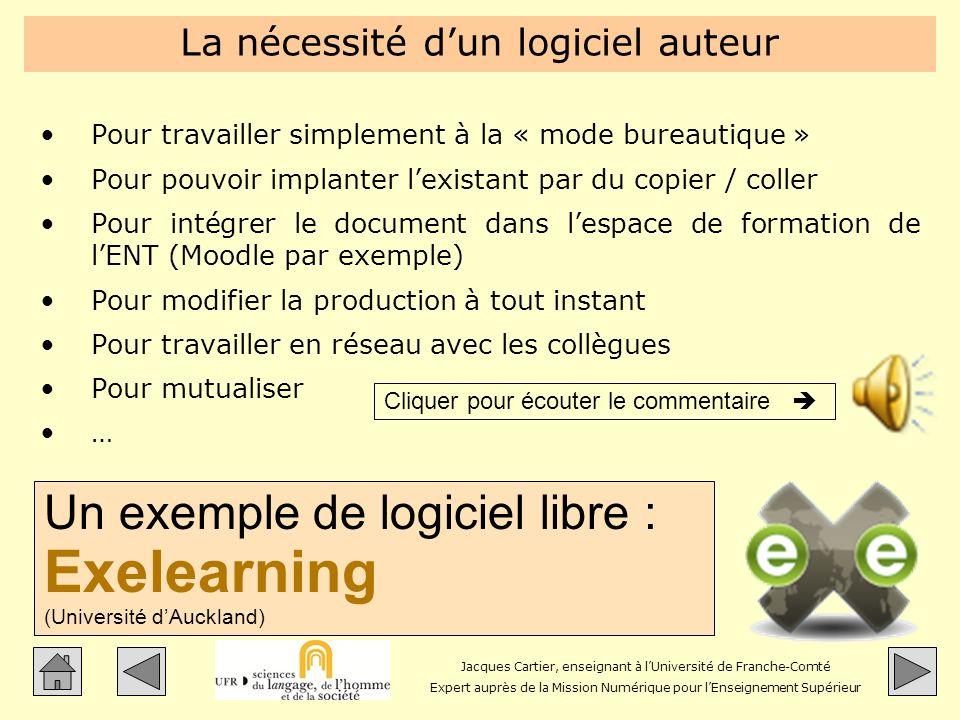 Jacques Cartier, enseignant à lUniversité de Franche-Comté Expert auprès de la Mission Numérique pour lEnseignement Supérieur La nécessité dun logicie