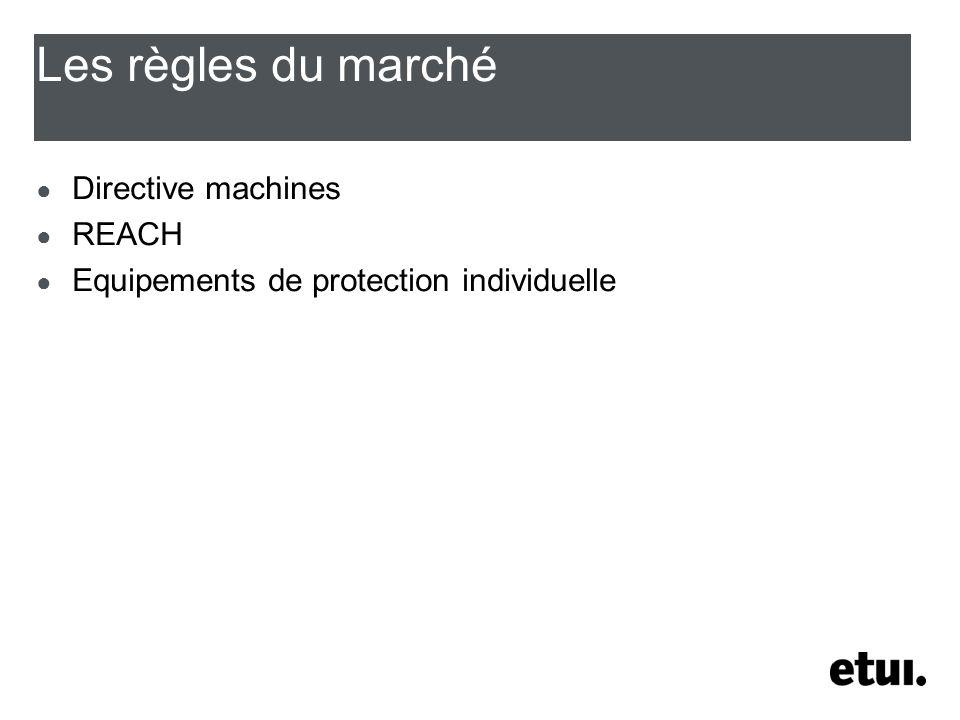 Les règles du marché Directive machines REACH Equipements de protection individuelle