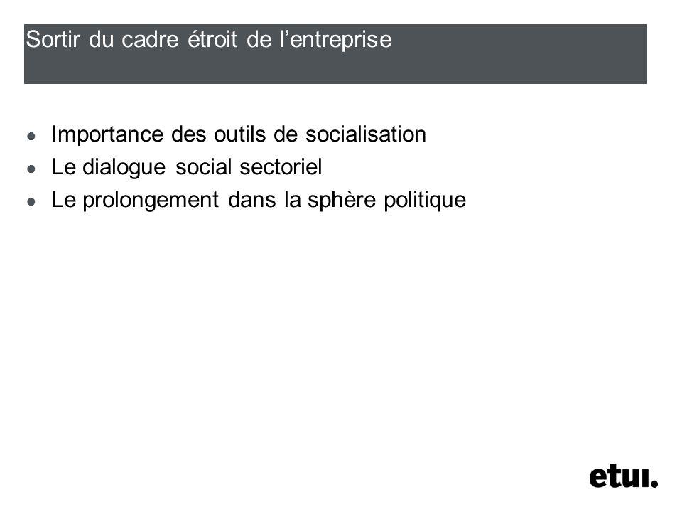 Sortir du cadre étroit de lentreprise Importance des outils de socialisation Le dialogue social sectoriel Le prolongement dans la sphère politique