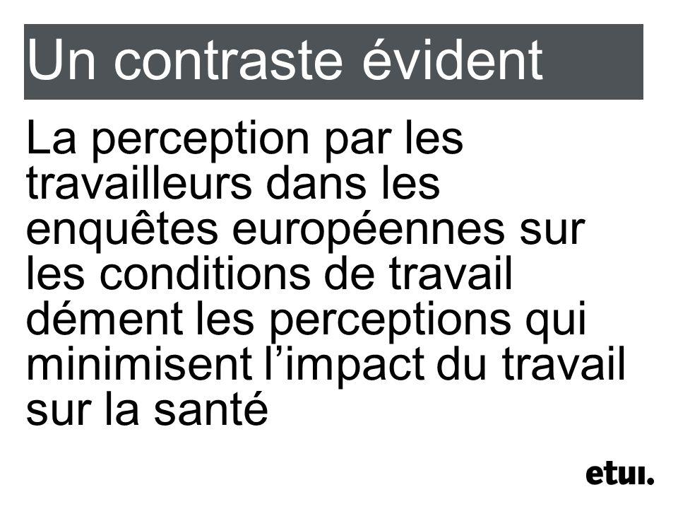 Un contraste évident La perception par les travailleurs dans les enquêtes européennes sur les conditions de travail dément les perceptions qui minimisent limpact du travail sur la santé