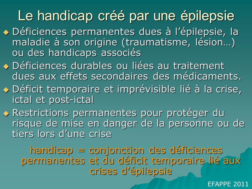 Le handicap créé par une épilepsie EFAPPE 2011 Déficiences permanentes dues à lépilepsie, la maladie à son origine (traumatisme, lésion…) ou des handi