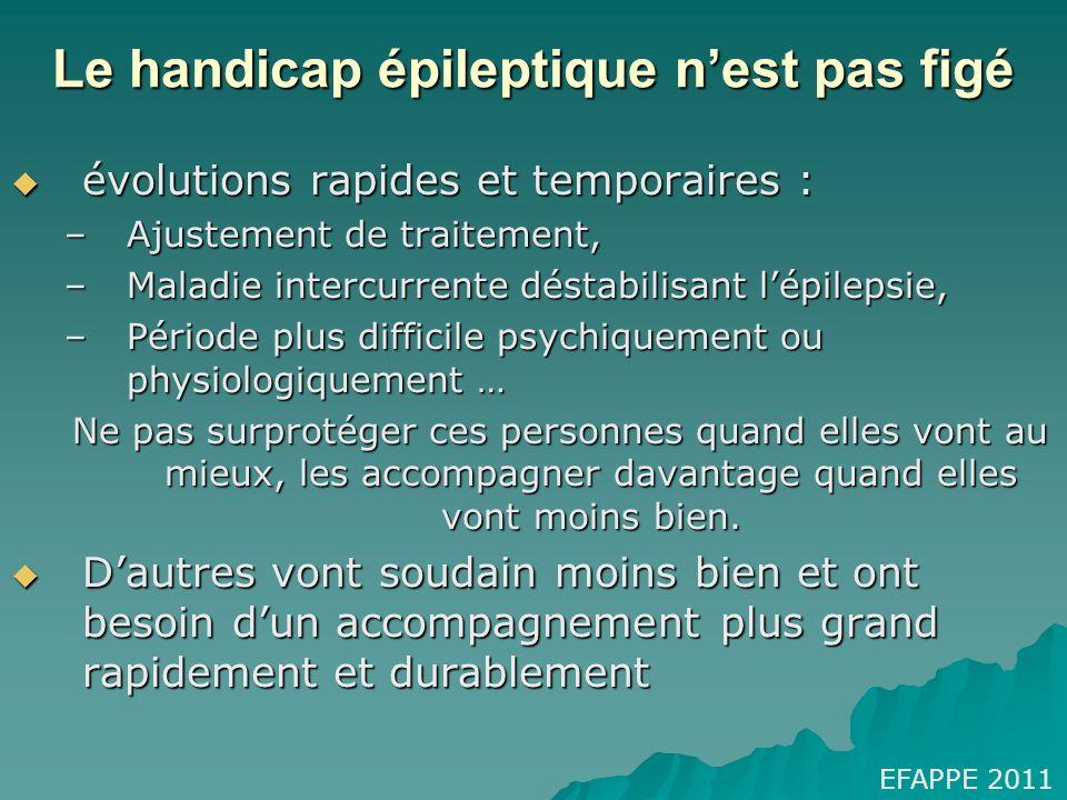 Le handicap épileptique nest pas figé évolutions rapides et temporaires : évolutions rapides et temporaires : –Ajustement de traitement, –Maladie inte