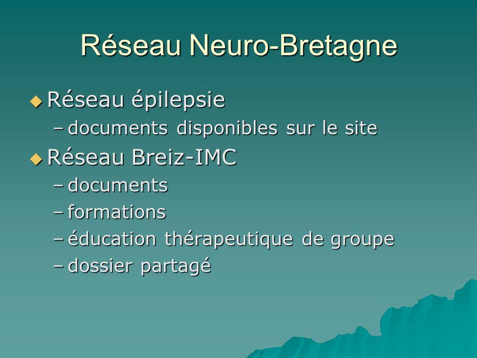 Réseau Neuro-Bretagne Réseau épilepsie Réseau épilepsie –documents disponibles sur le site Réseau Breiz-IMC Réseau Breiz-IMC –documents –formations –é