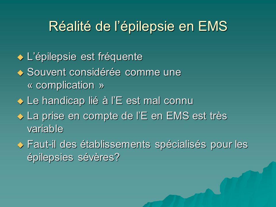 Réalité de lépilepsie en EMS Lépilepsie est fréquente Lépilepsie est fréquente Souvent considérée comme une « complication » Souvent considérée comme