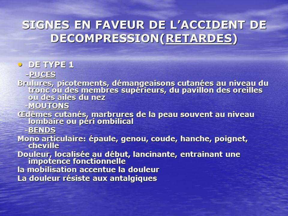 SIGNES EN FAVEUR DE LACCIDENT DE DECOMPRESSION(RETARDES) DE TYPE 1 DE TYPE 1 -PUCES -PUCES Brulures, picotements, démangeaisons cutanées au niveau du