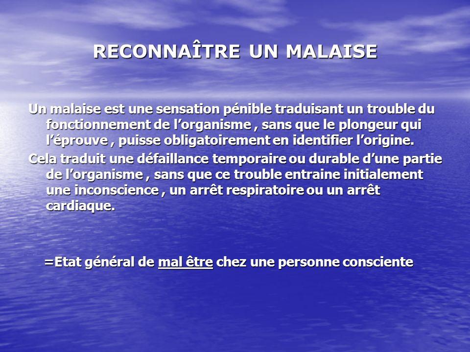 RECONNAÎTRE UN MALAISE Un malaise est une sensation pénible traduisant un trouble du fonctionnement de lorganisme, sans que le plongeur qui léprouve,