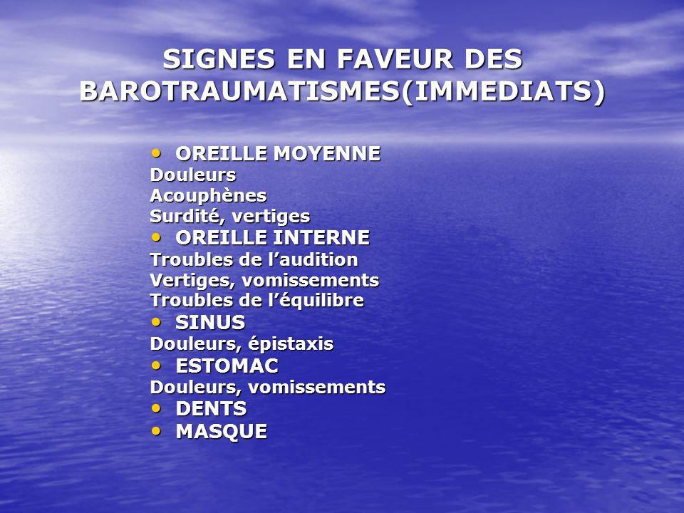 SIGNES EN FAVEUR DES BAROTRAUMATISMES(IMMEDIATS) OREILLE MOYENNE OREILLE MOYENNEDouleursAcouphènes Surdité, vertiges OREILLE INTERNE OREILLE INTERNE T
