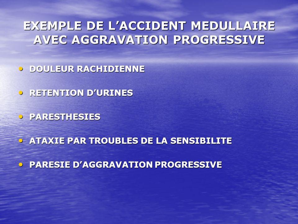 EXEMPLE DE LACCIDENT MEDULLAIRE AVEC AGGRAVATION PROGRESSIVE DOULEUR RACHIDIENNE DOULEUR RACHIDIENNE RETENTION DURINES RETENTION DURINES PARESTHESIES