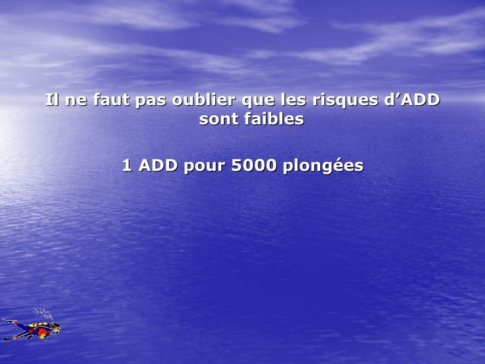Il ne faut pas oublier que les risques dADD sont faibles 1 ADD pour 5000 plongées