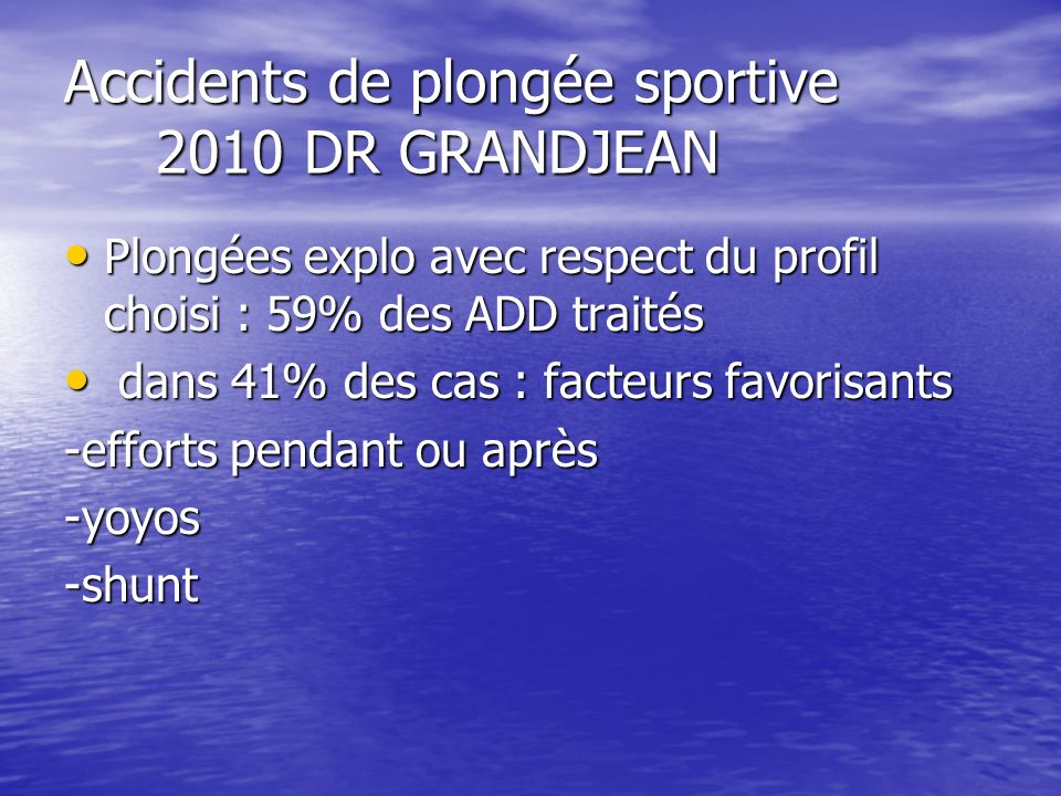 Accidents de plongée sportive 2010 DR GRANDJEAN Plongées explo avec respect du profil choisi : 59% des ADD traités Plongées explo avec respect du prof