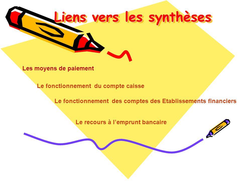 Liens vers les synthèses Liens vers les synthèses Le fonctionnement du compte caisse Le recours à lemprunt bancaire Les moyens de paiement Le fonction