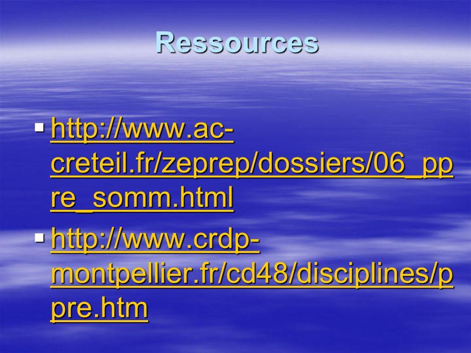 Ressources http://www.ac- creteil.fr/zeprep/dossiers/06_pp re_somm.html http://www.ac- creteil.fr/zeprep/dossiers/06_pp re_somm.html http://www.ac- creteil.fr/zeprep/dossiers/06_pp re_somm.html http://www.ac- creteil.fr/zeprep/dossiers/06_pp re_somm.html http://www.crdp- montpellier.fr/cd48/disciplines/p pre.htm http://www.crdp- montpellier.fr/cd48/disciplines/p pre.htm http://www.crdp- montpellier.fr/cd48/disciplines/p pre.htm http://www.crdp- montpellier.fr/cd48/disciplines/p pre.htm