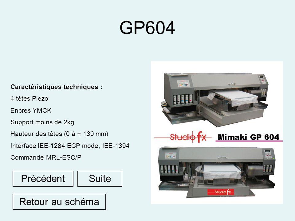 GP604 Caractéristiques techniques : 4 têtes Piezo Encres YMCK Support moins de 2kg Hauteur des têtes (0 à + 130 mm) Interface IEE-1284 ECP mode, IEE-1