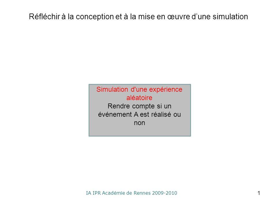 IA IPR Académie de Rennes 2009-2010 Réfléchir à la conception et à la mise en œuvre dune simulation 1 Simulation d une expérience aléatoire Rendre compte si un événement A est réalisé ou non