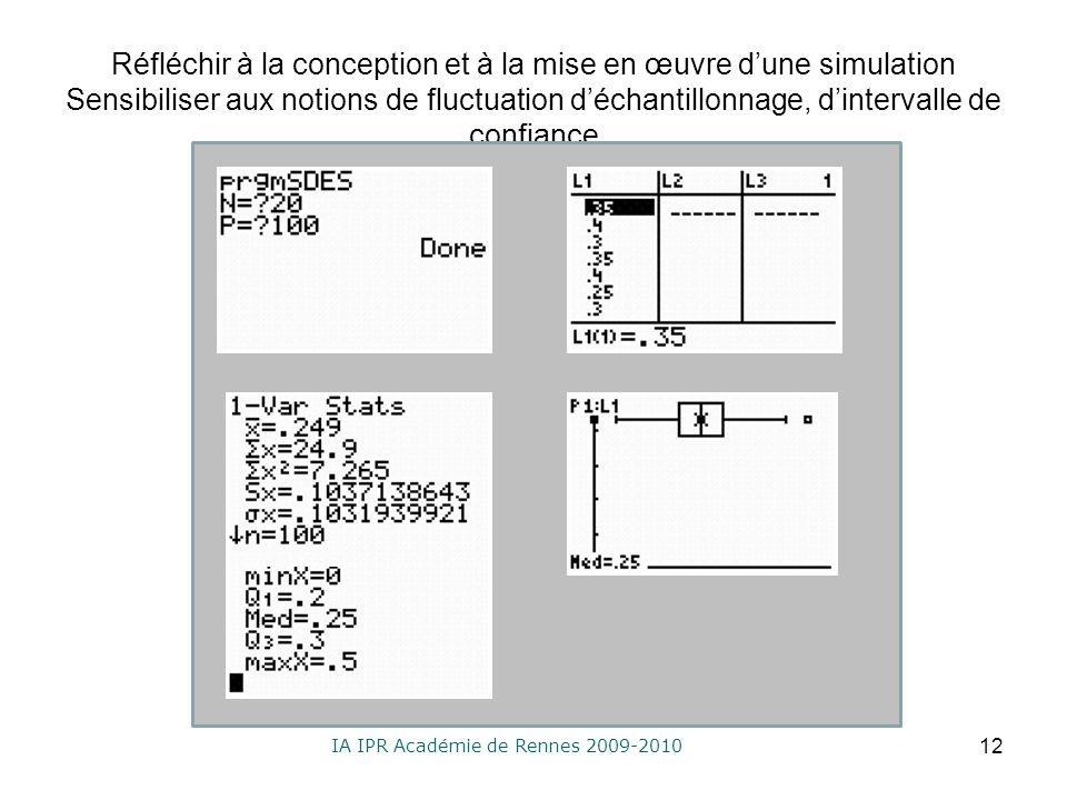 IA IPR Académie de Rennes 2009-2010 Réfléchir à la conception et à la mise en œuvre dune simulation Sensibiliser aux notions de fluctuation déchantillonnage, dintervalle de confiance 12
