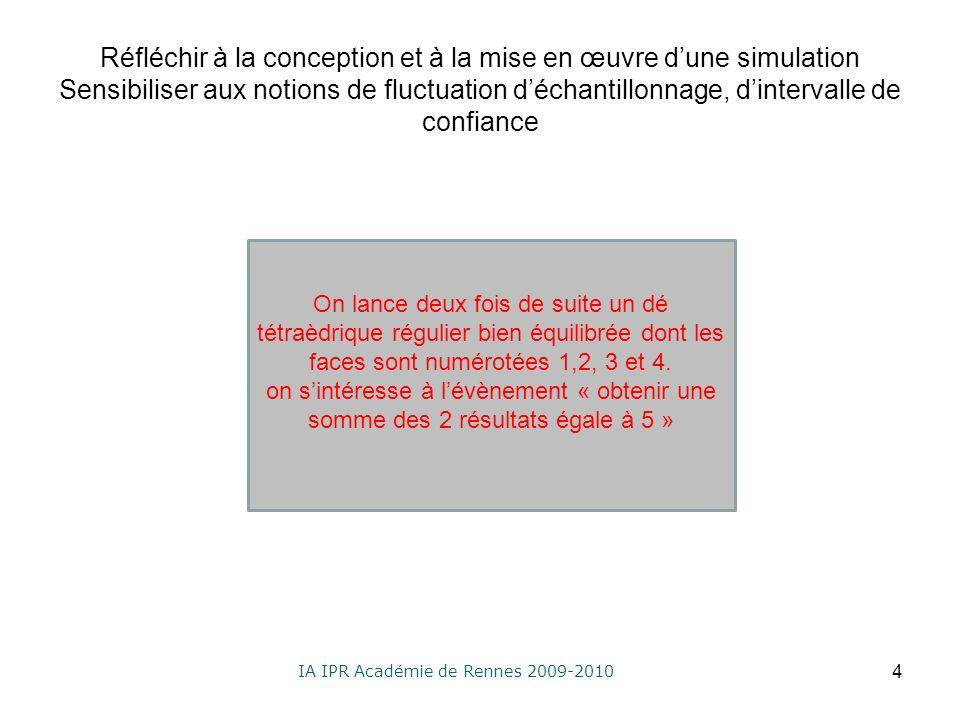 IA IPR Académie de Rennes 2009-2010 Réfléchir à la conception et à la mise en œuvre dune simulation Sensibiliser aux notions de fluctuation déchantillonnage, dintervalle de confiance 4 On lance deux fois de suite un dé tétraèdrique régulier bien équilibrée dont les faces sont numérotées 1,2, 3 et 4.