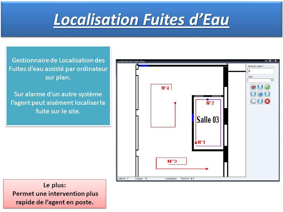 Localisation Fuites dEau Le plus: Permet une intervention plus rapide de lagent en poste. Le plus: Permet une intervention plus rapide de lagent en po