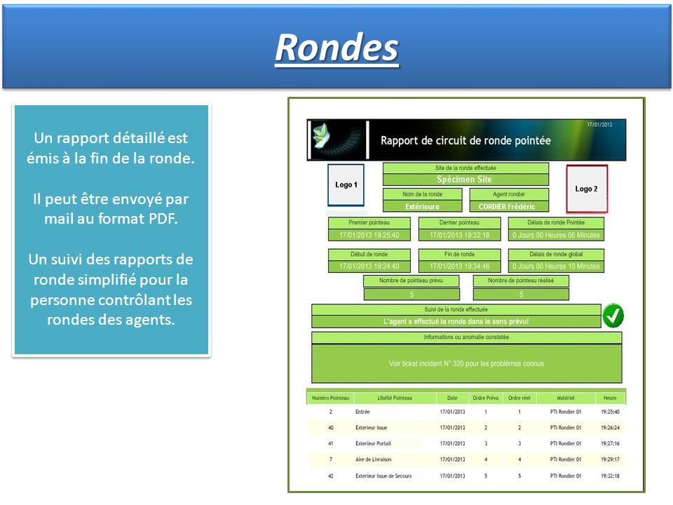 Un rapport détaillé est émis à la fin de la ronde. Il peut être envoyé par mail au format PDF. Un suivi des rapports de ronde simplifié pour la person