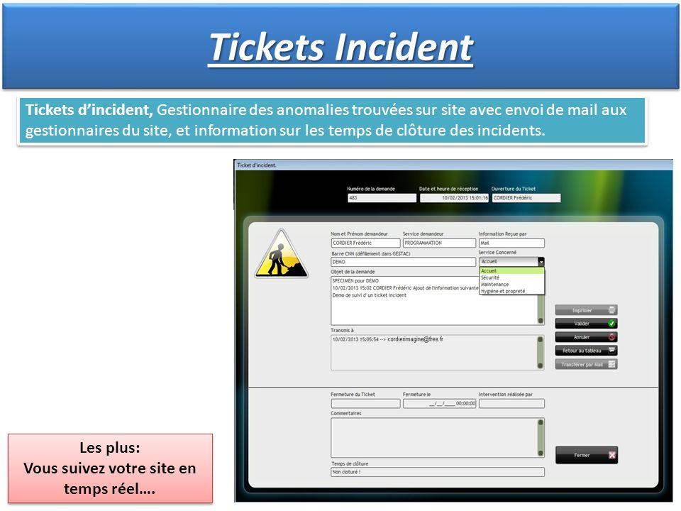 Tickets dincident, Gestionnaire des anomalies trouvées sur site avec envoi de mail aux gestionnaires du site, et information sur les temps de clôture