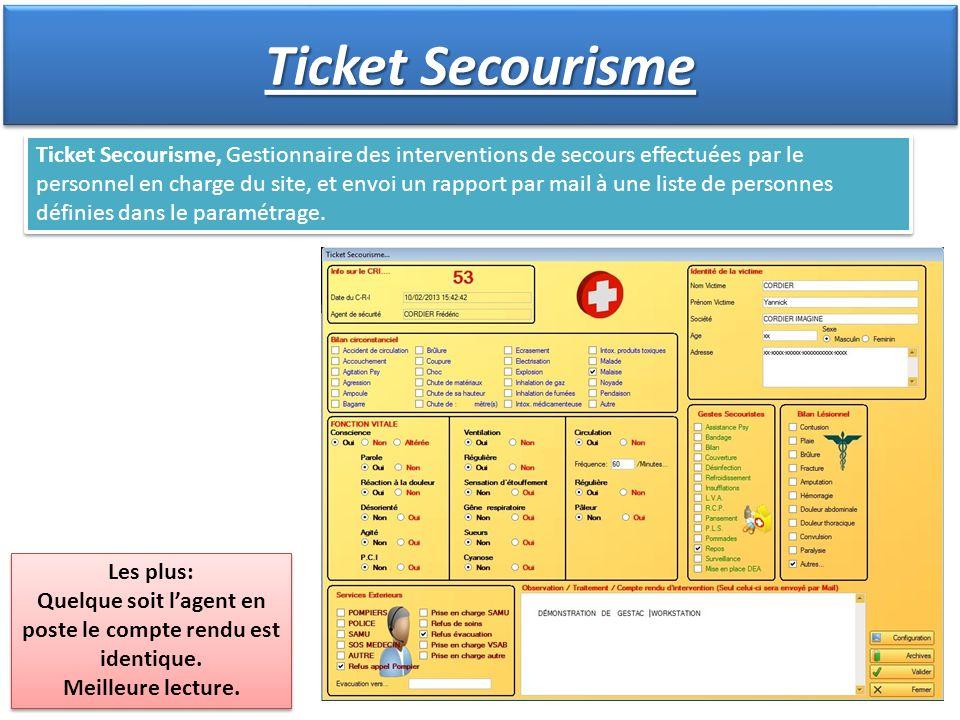 Ticket Secourisme, Gestionnaire des interventions de secours effectuées par le personnel en charge du site, et envoi un rapport par mail à une liste d