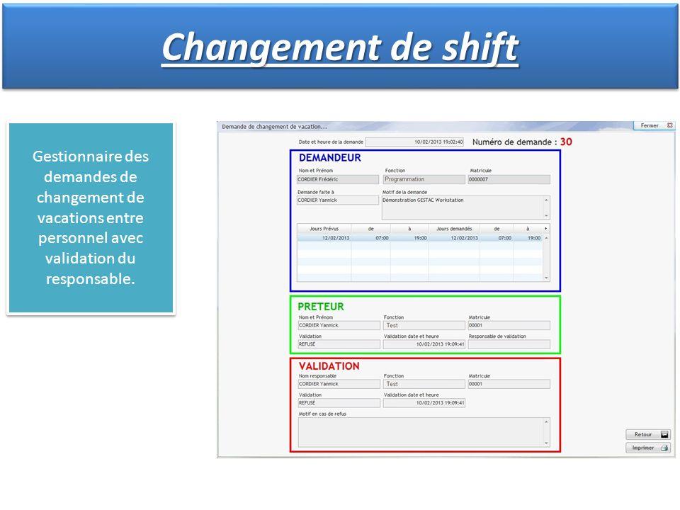 Gestionnaire des demandes de changement de vacations entre personnel avec validation du responsable. Changement de shift