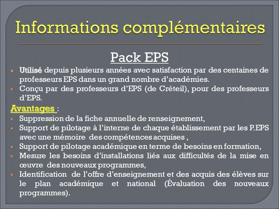 Pack EPS Utilisé Utilisé depuis plusieurs années avec satisfaction par des centaines de professeurs EPS dans un grand nombre dacadémies. Conçu par des