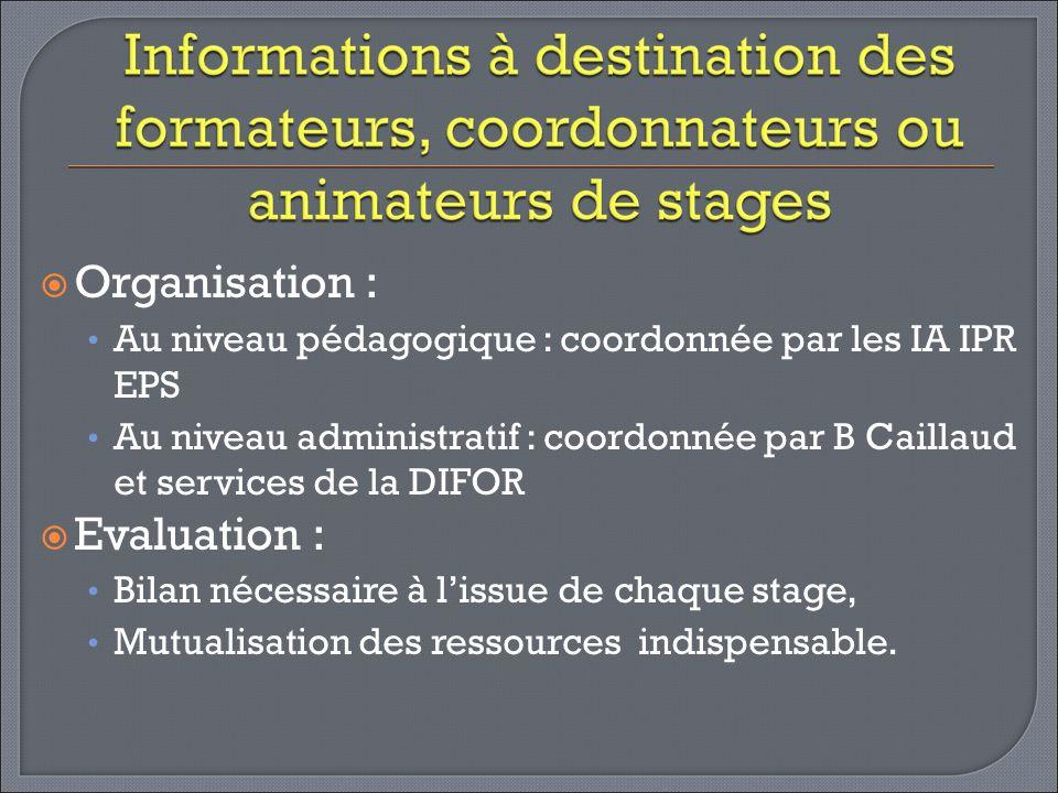 Organisation : Au niveau pédagogique : coordonnée par les IA IPR EPS Au niveau administratif : coordonnée par B Caillaud et services de la DIFOR Evalu