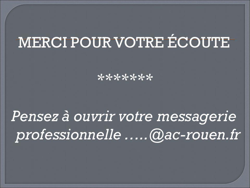 MERCI POUR VOTRE ÉCOUTE ******* Pensez à ouvrir votre messagerie professionnelle …..@ac-rouen.fr