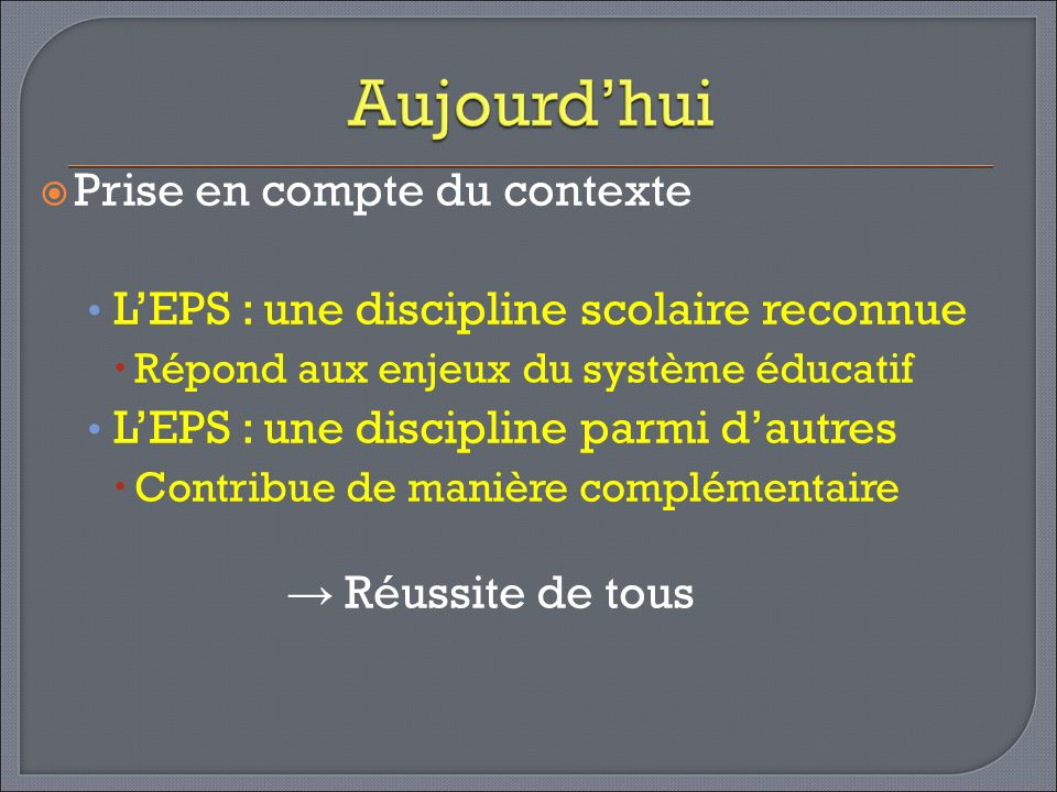 Prise en compte du contexte LEPS : une discipline scolaire reconnue Répond aux enjeux du système éducatif LEPS : une discipline parmi dautres Contribu