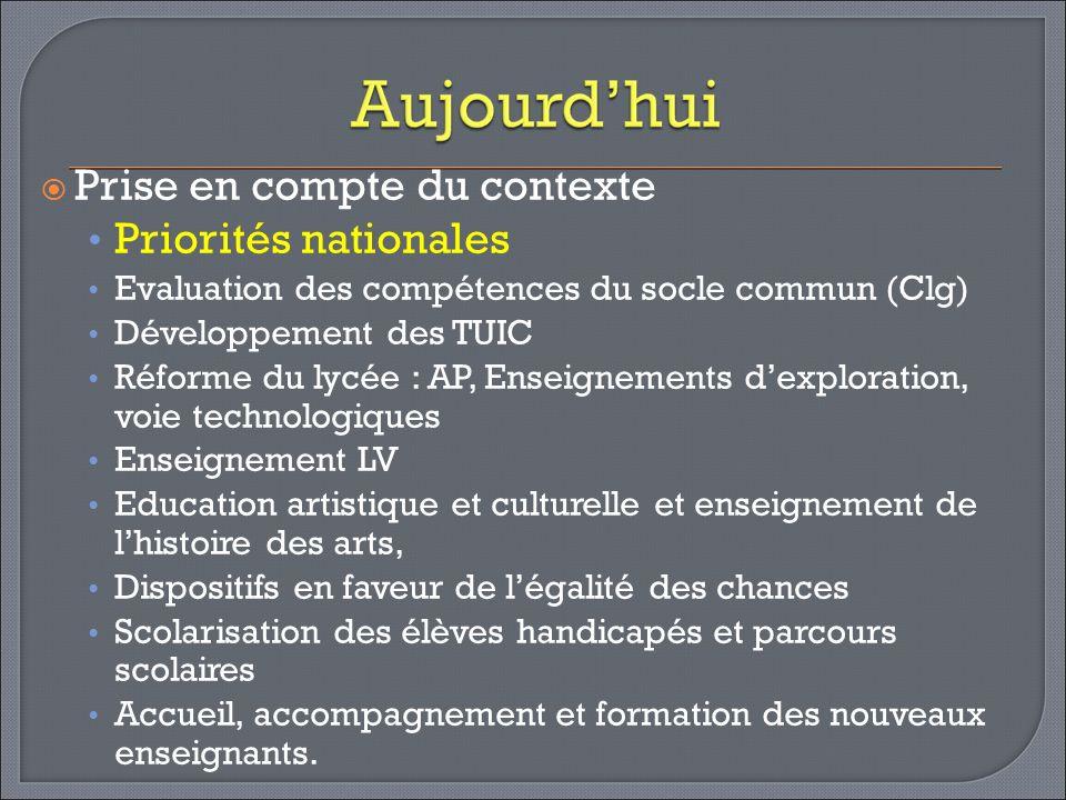 Prise en compte du contexte Priorités nationales Evaluation des compétences du socle commun (Clg) Développement des TUIC Réforme du lycée : AP, Enseig