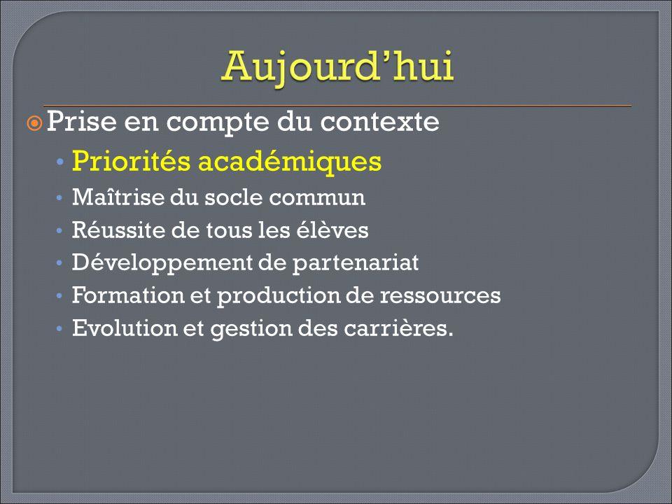 Prise en compte du contexte Priorités académiques Maîtrise du socle commun Réussite de tous les élèves Développement de partenariat Formation et produ