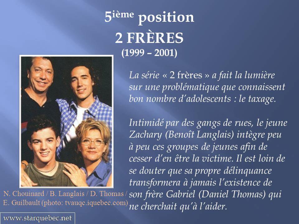 5 ième position 2 FRÈRES (1999 – 2001) La série « 2 frères » a fait la lumière sur une problématique que connaissent bon nombre dadolescents : le taxa