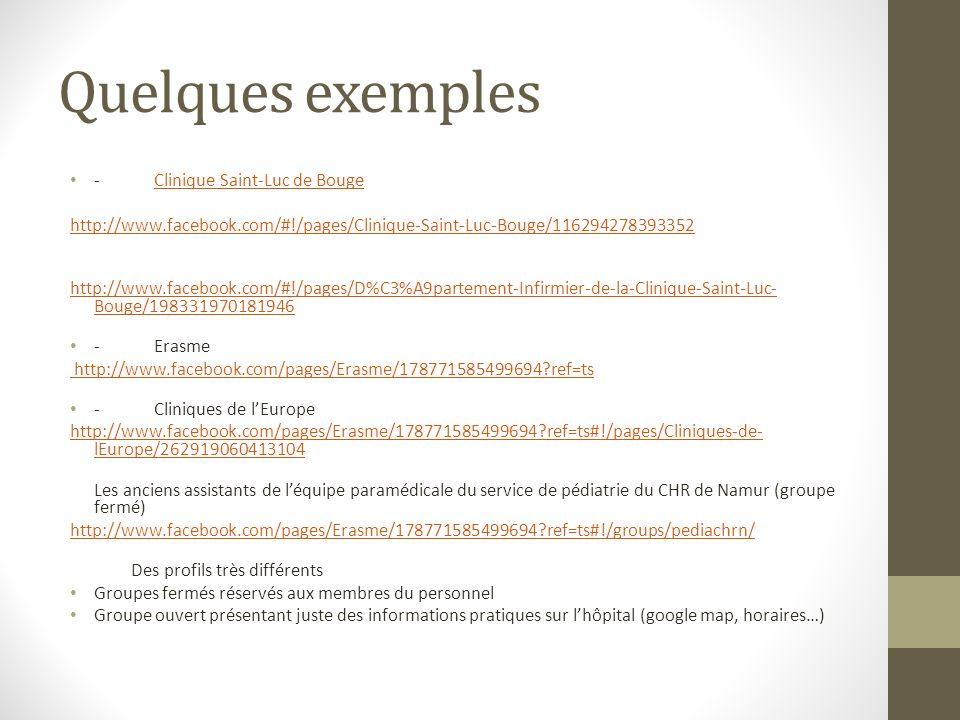 Quelques exemples -Clinique Saint-Luc de BougeClinique Saint-Luc de Bouge http://www.facebook.com/#!/pages/Clinique-Saint-Luc-Bouge/116294278393352 ht