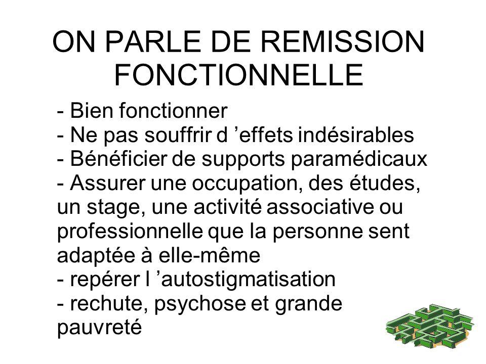 ON PARLE DE REMISSION FONCTIONNELLE - Bien fonctionner - Ne pas souffrir d effets indésirables - Bénéficier de supports paramédicaux - Assurer une occ