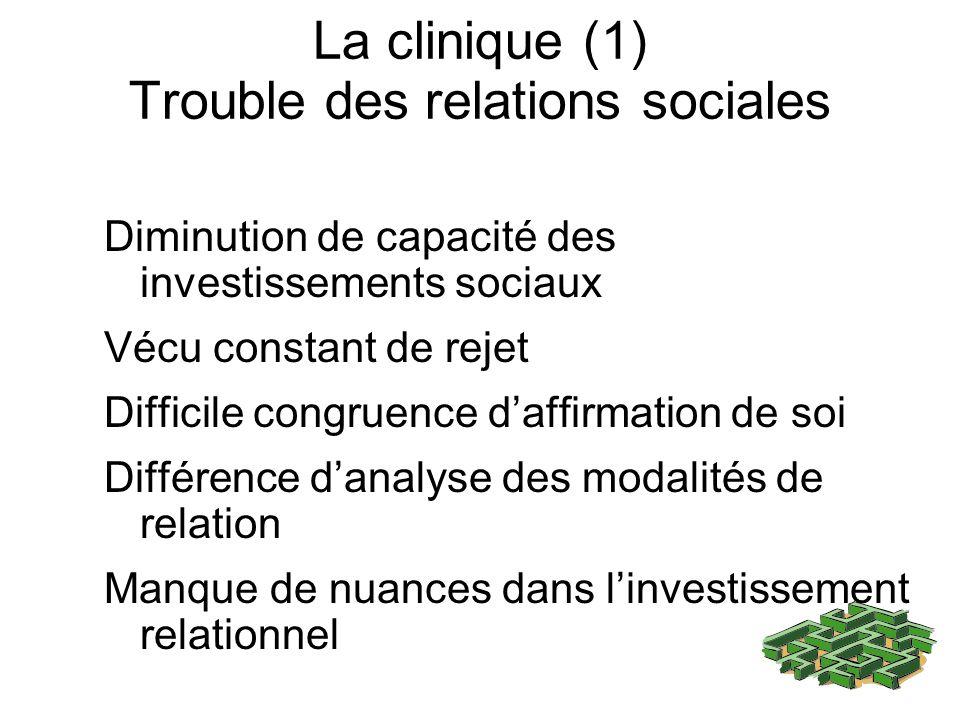 La clinique (1) Trouble des relations sociales Diminution de capacité des investissements sociaux Vécu constant de rejet Difficile congruence daffirmation de soi Différence danalyse des modalités de relation Manque de nuances dans linvestissement relationnel