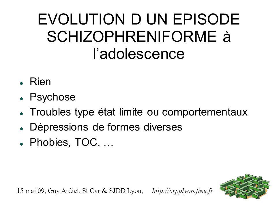 EVOLUTION D UN EPISODE SCHIZOPHRENIFORME à ladolescence Rien Psychose Troubles type état limite ou comportementaux Dépressions de formes diverses Phob