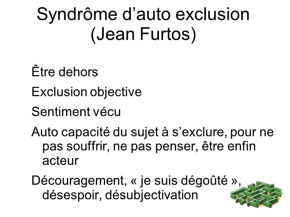 Syndrôme dauto exclusion (Jean Furtos) Être dehors Exclusion objective Sentiment vécu Auto capacité du sujet à sexclure, pour ne pas souffrir, ne pas penser, être enfin acteur Découragement, « je suis dégoûté », désespoir, désubjectivation