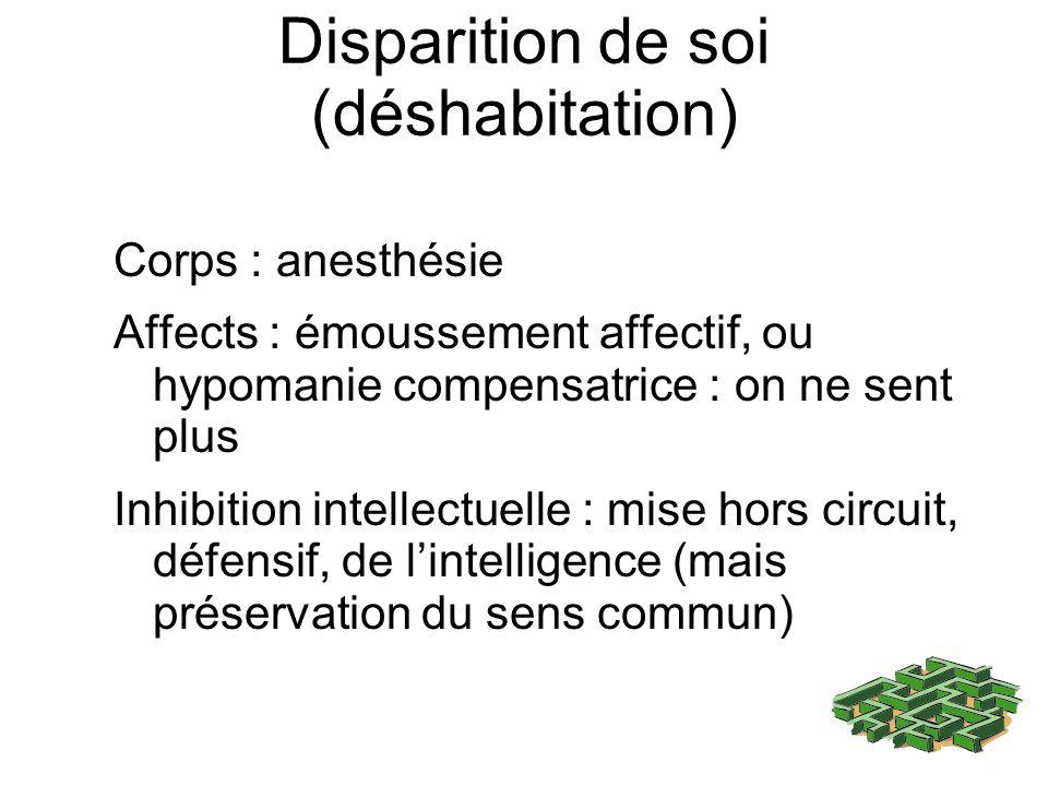 Disparition de soi (déshabitation) Corps : anesthésie Affects : émoussement affectif, ou hypomanie compensatrice : on ne sent plus Inhibition intellec