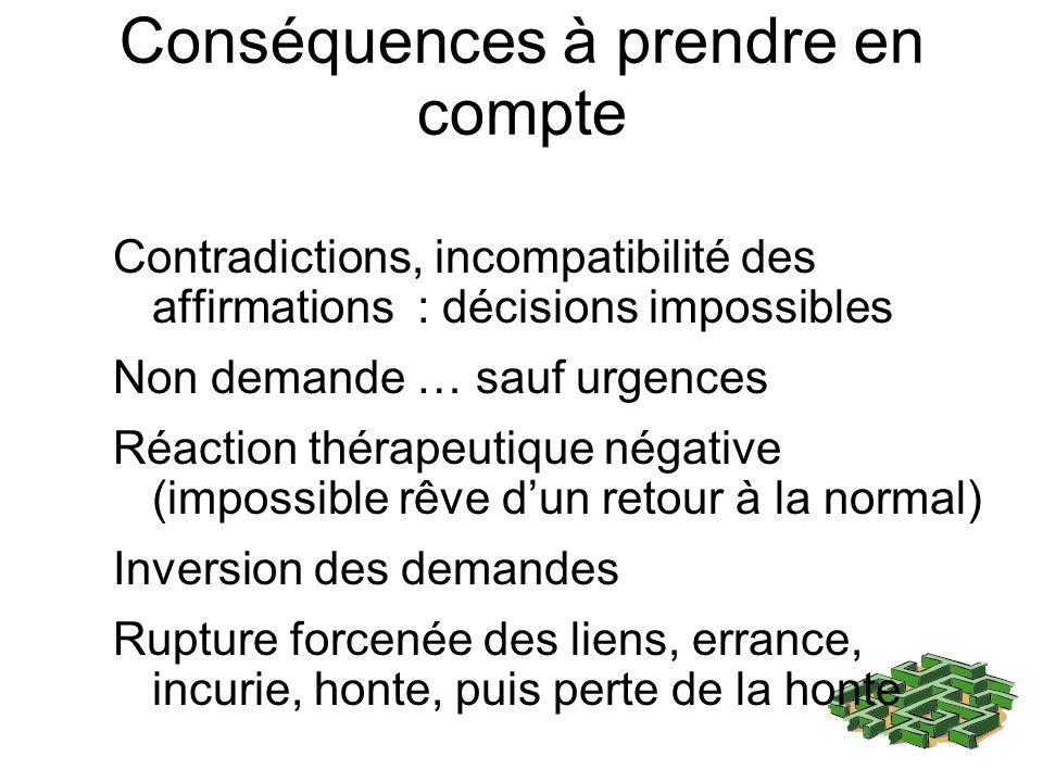 Conséquences à prendre en compte Contradictions, incompatibilité des affirmations : décisions impossibles Non demande … sauf urgences Réaction thérape