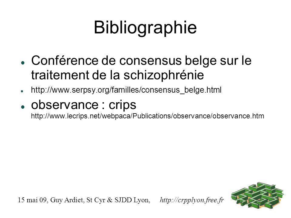 Bibliographie Conférence de consensus belge sur le traitement de la schizophrénie http://www.serpsy.org/familles/consensus_belge.html observance : crips http://www.lecrips.net/webpaca/Publications/observance/observance.htm 15 mai 09, Guy Ardiet, St Cyr & SJDD Lyon, http://crpplyon.free.fr