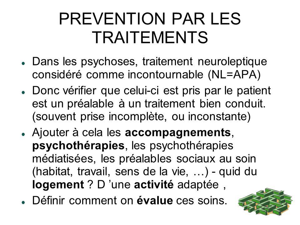 PREVENTION PAR LES TRAITEMENTS Dans les psychoses, traitement neuroleptique considéré comme incontournable (NL=APA) Donc vérifier que celui-ci est pris par le patient est un préalable à un traitement bien conduit.