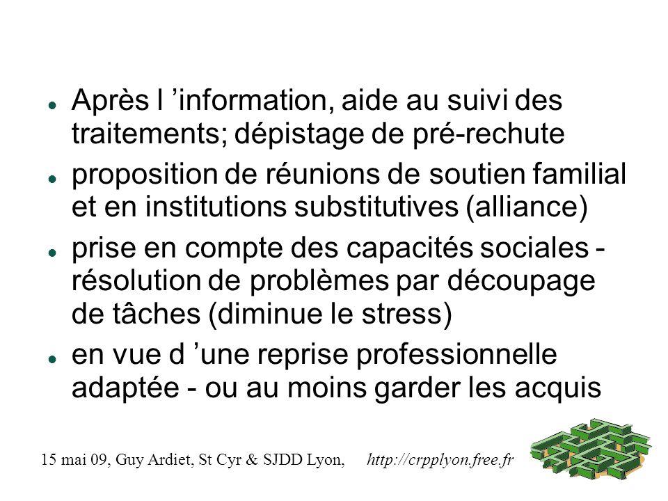 Après l information, aide au suivi des traitements; dépistage de pré-rechute proposition de réunions de soutien familial et en institutions substitutives (alliance) prise en compte des capacités sociales - résolution de problèmes par découpage de tâches (diminue le stress) en vue d une reprise professionnelle adaptée - ou au moins garder les acquis 15 mai 09, Guy Ardiet, St Cyr & SJDD Lyon, http://crpplyon.free.fr