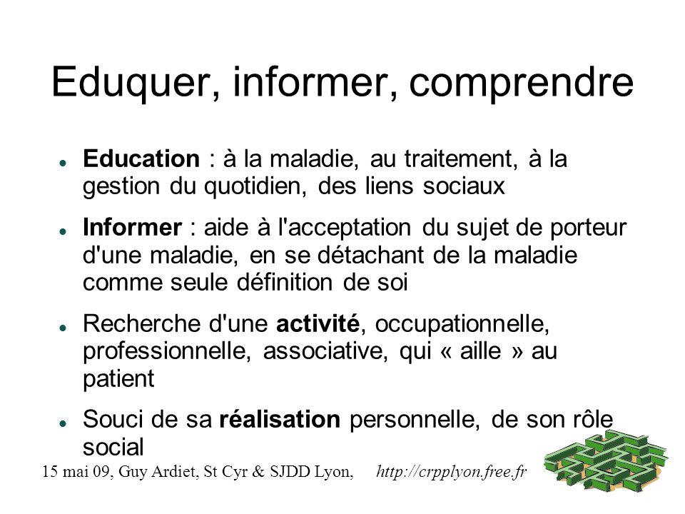 Eduquer, informer, comprendre Education : à la maladie, au traitement, à la gestion du quotidien, des liens sociaux Informer : aide à l'acceptation du