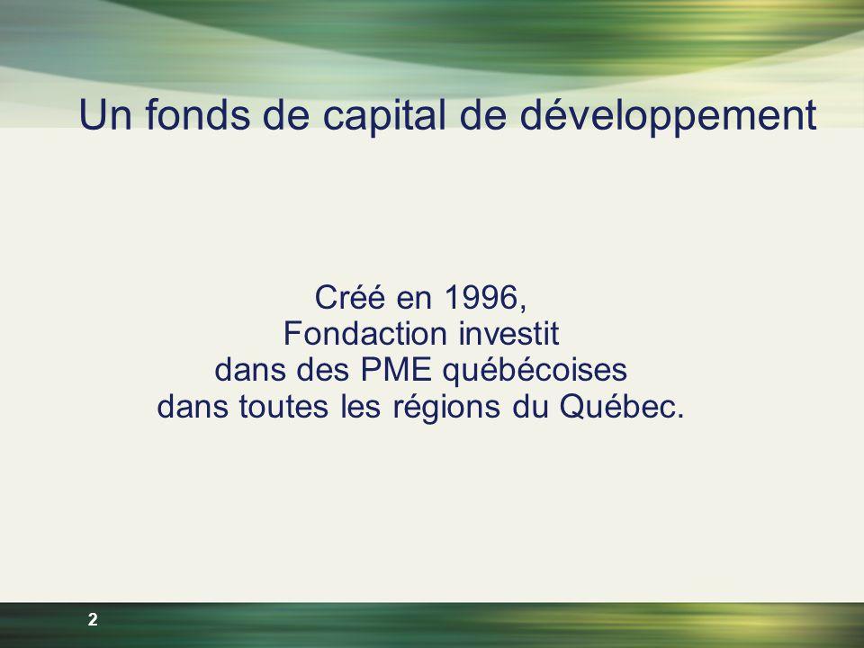 2 Un fonds de capital de développement Créé en 1996, Fondaction investit dans des PME québécoises dans toutes les régions du Québec.