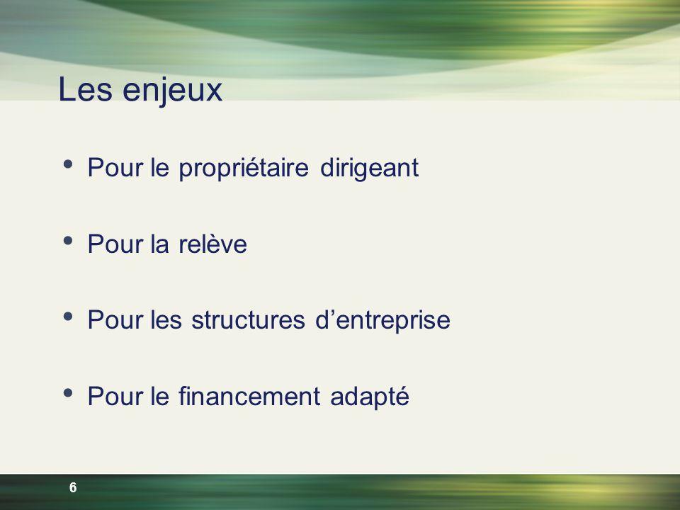 6 Les enjeux Pour le propriétaire dirigeant Pour la relève Pour les structures dentreprise Pour le financement adapté